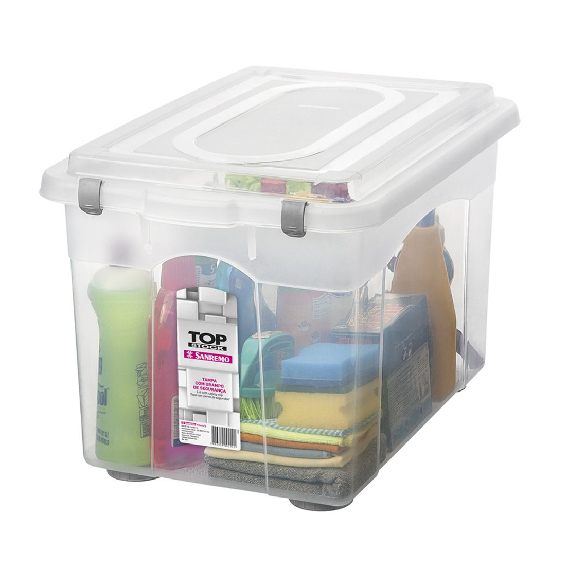 Caixa Organizadora 56,1L de Plástico com Grampos de Fechamento Sanremo Transparente