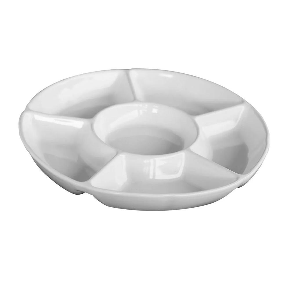Petisqueira de Cerâmica Redonda Branca 6 Divisões