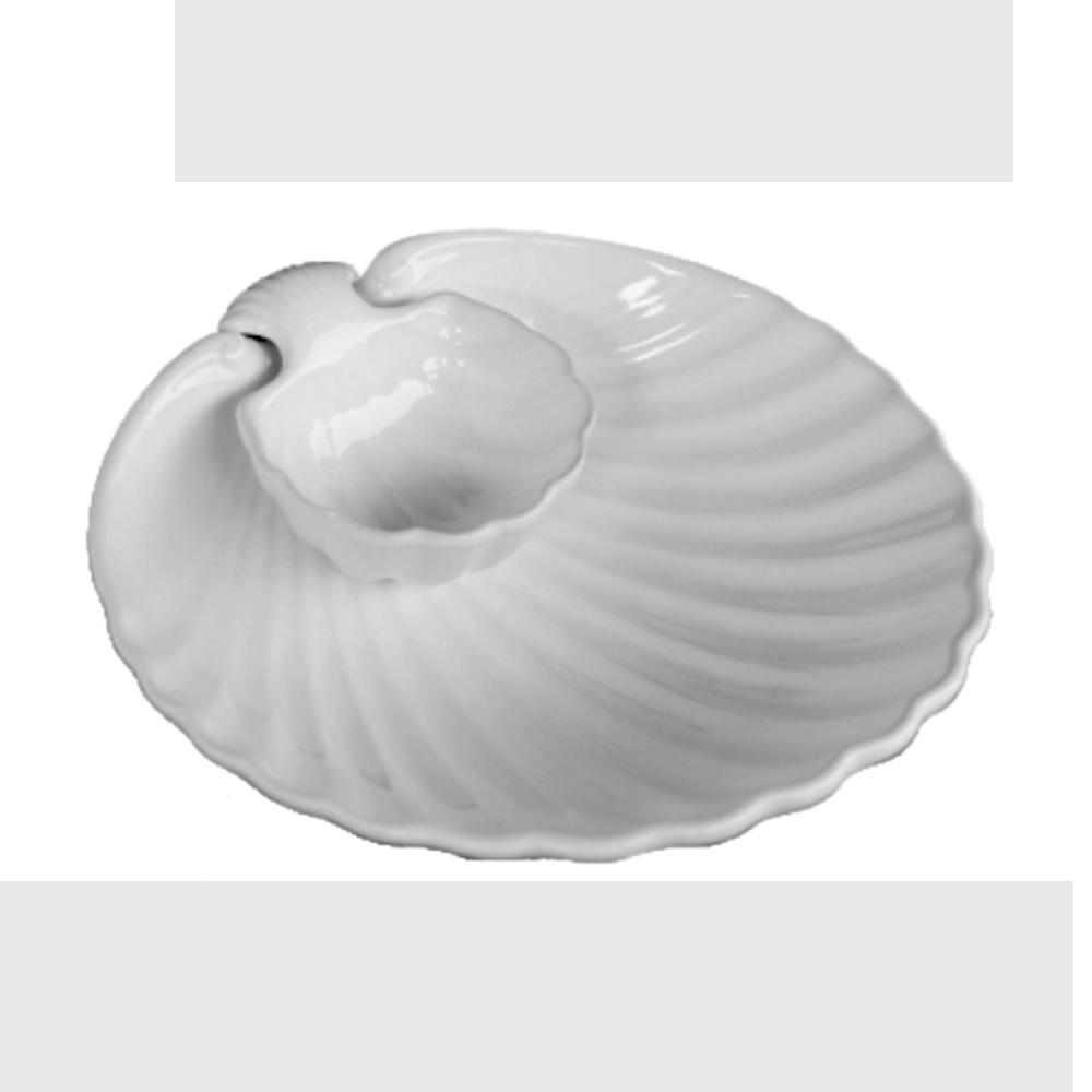 Petisqueira e Saladeira 2 Peças de Cerâmica Concha Branca