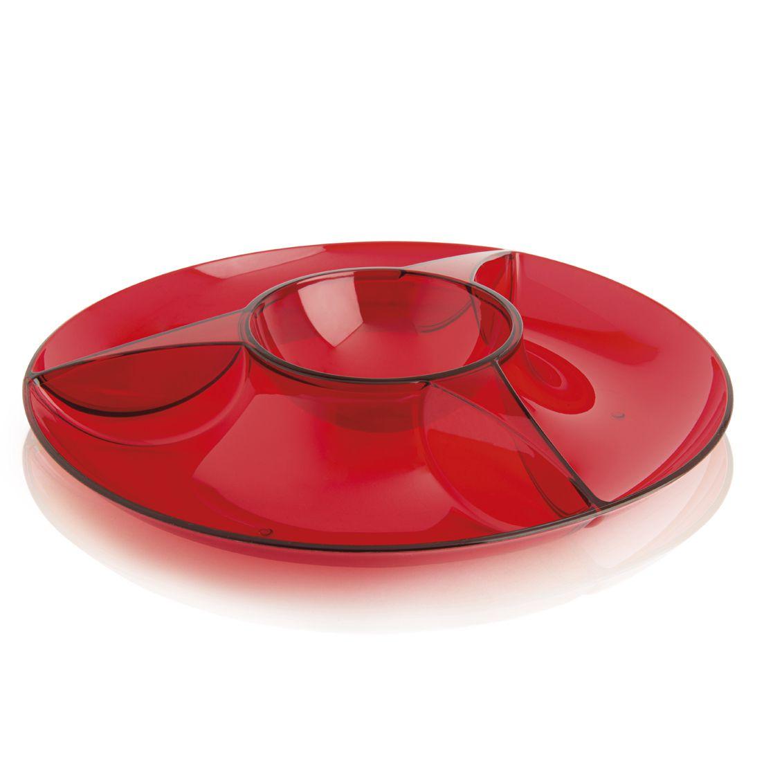 Petisqueira de Polipropileno Luna Vermelho 3 Divisões