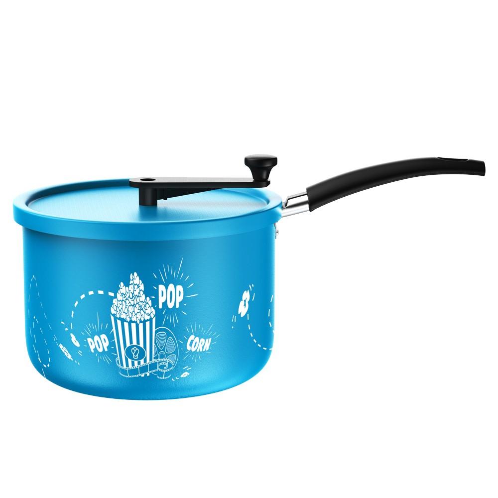 Pipoqueira de Alumínio Antiaderente com Cabos de Baquelite e Fundo Retificado Azul 22Cm