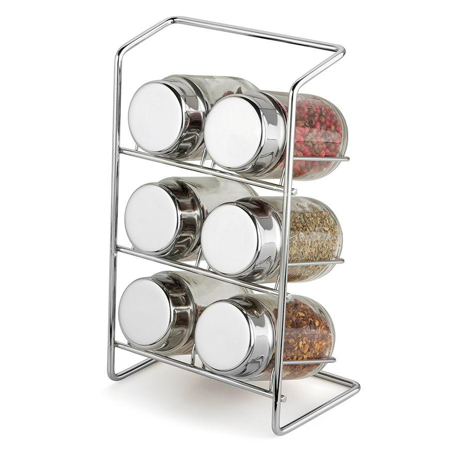 Porta Condimentos com Suporte de Aço e 6 Potes de Vidro com Tampa Cromada Bancada Elegante