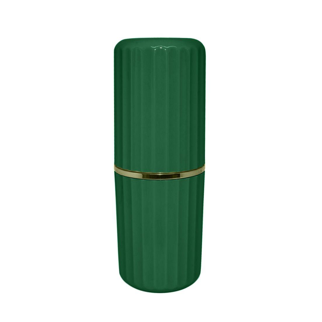 Porta Escova de Dente em Eps com Tampa Verde Botânico Groove