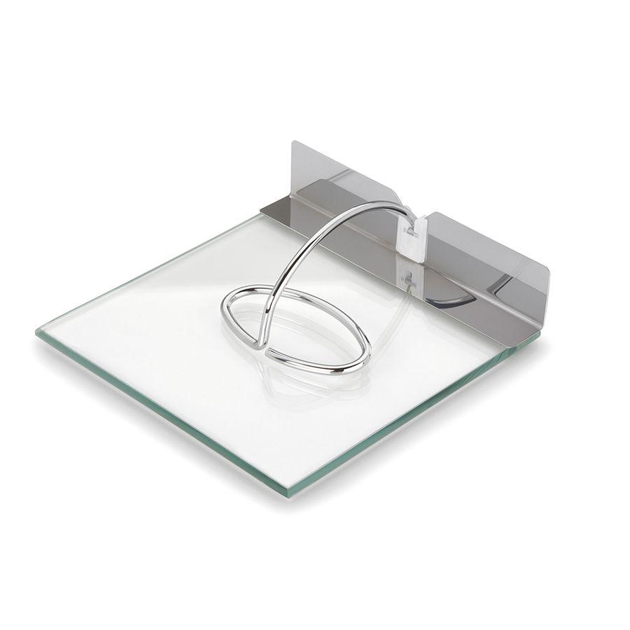 Porta Guardanapos Forma de Inox e Vidro Slim 18 X 18Cm