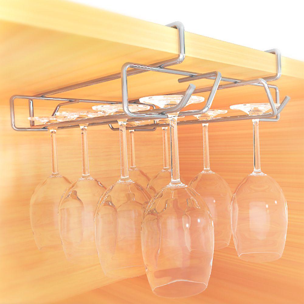 Porta Taças de Aço Cromado Duplo com 8 Lugares para Encaixe em Armário