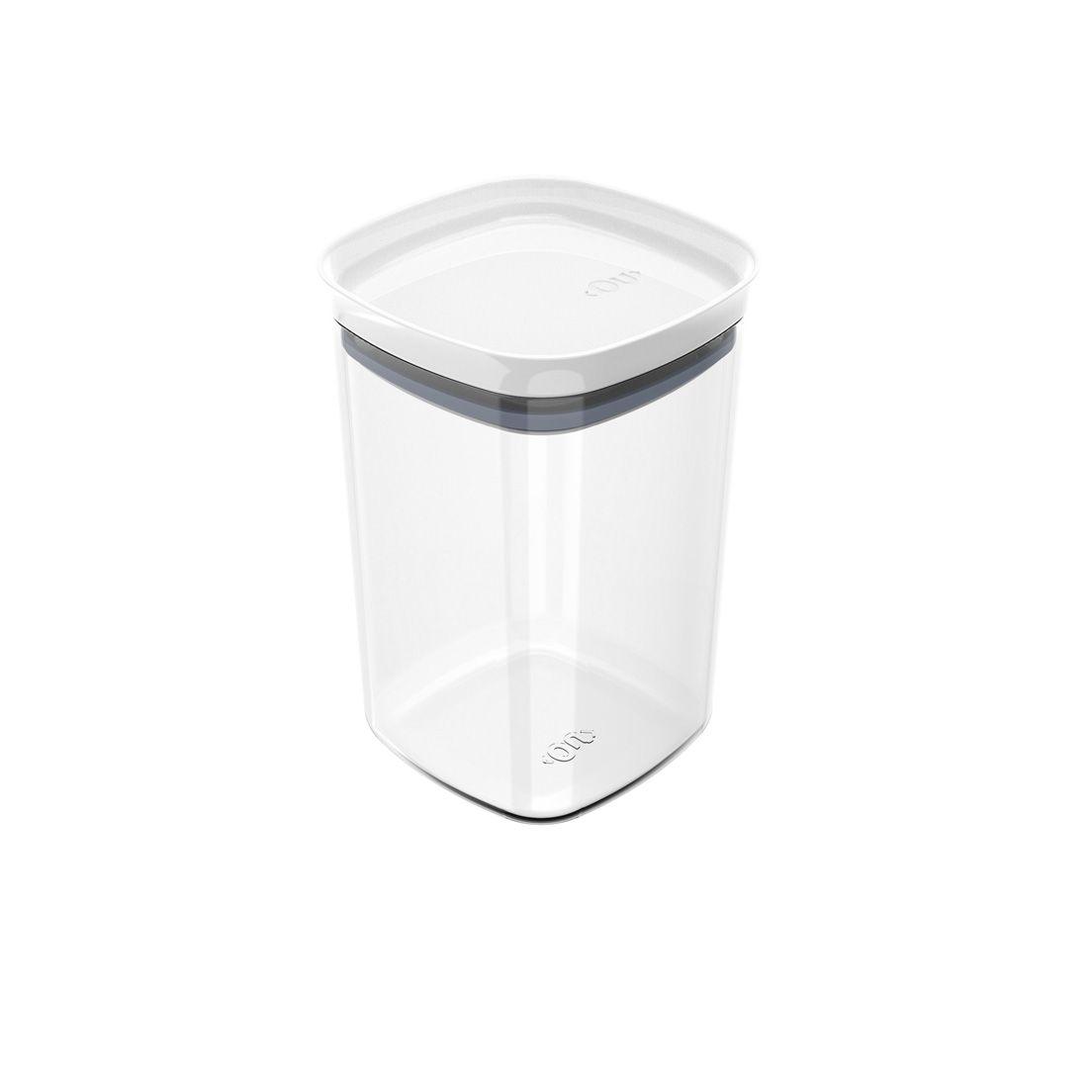 Pote de Plástico com Tampa Hermética Block 1L Branco
