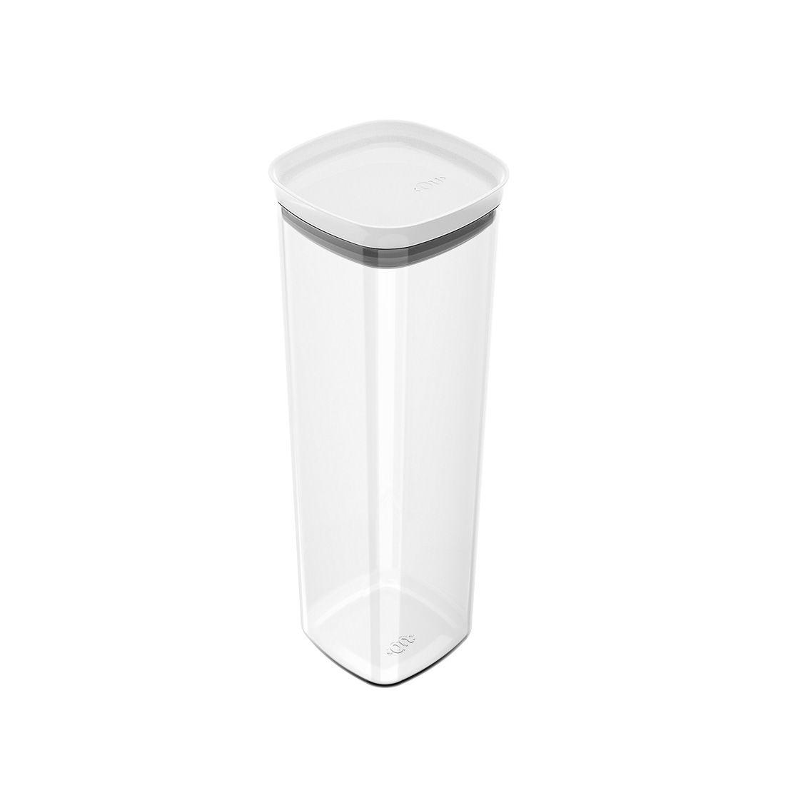 Pote de Plástico com Tampa Hermética Block 2L Branco