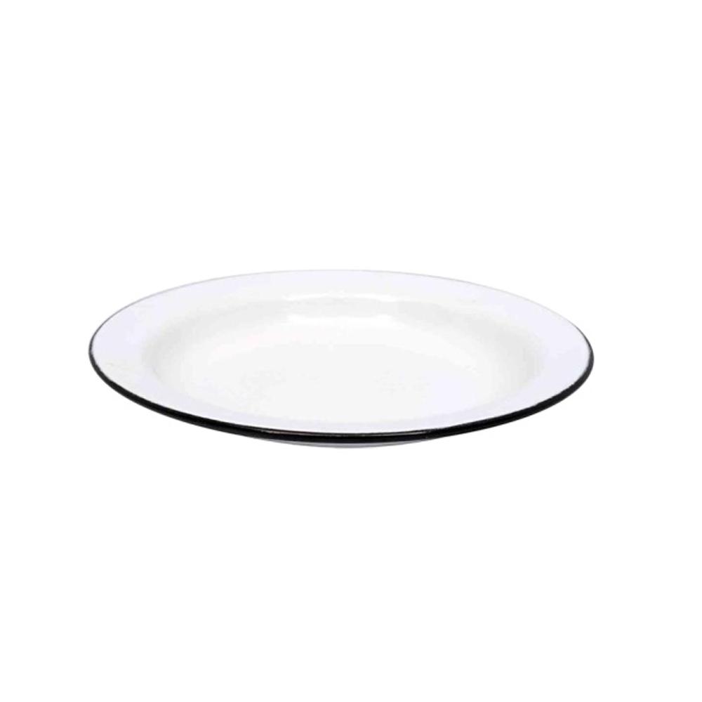 Prato para Sobremesa de Aço Carbono Esmaltado 20cm Branco