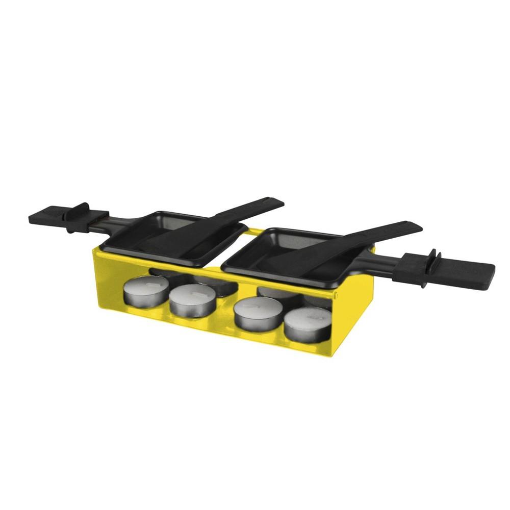 Raclete Dupla 13 Peças e Base de Ferro Cromado Amarela