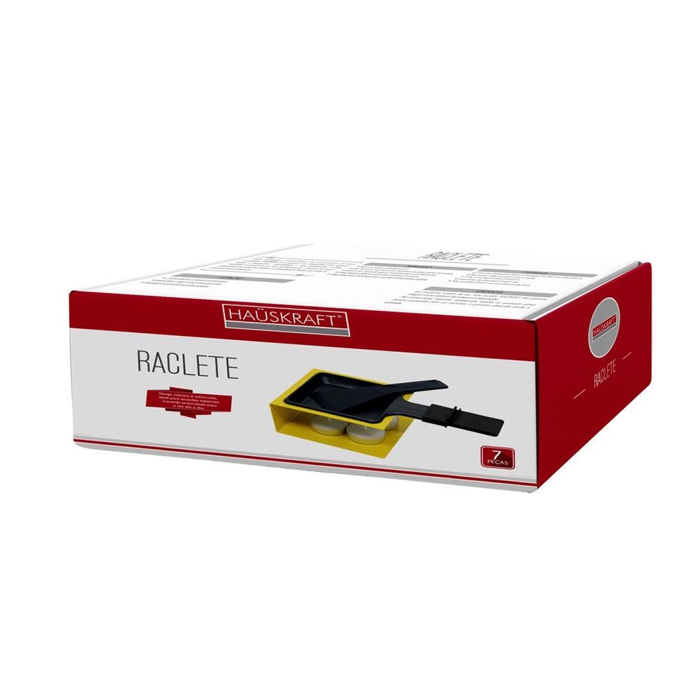Raclete Simples 7 Peças e Base de Ferro Cromado Amarela
