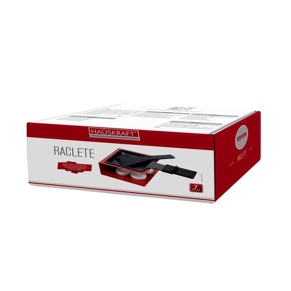 Raclete Simples 7 Peças e Base de Ferro Cromado Vermelha