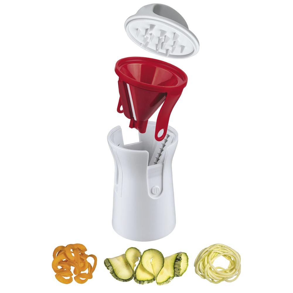Ralador Espiral com Lâminas de Aço Inox Multiuso 3 em 1 Vermelho