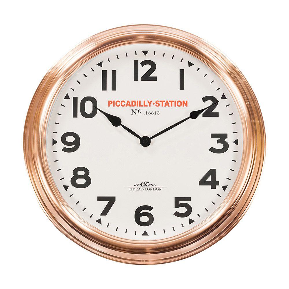 Relógio para Parede de Plástico e Aro Externo Acobreado 36Cm