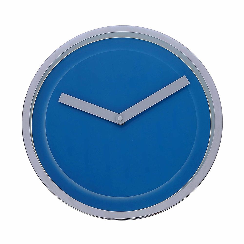 Relógio para Parede de Plástico Cromado Azul 33Cm