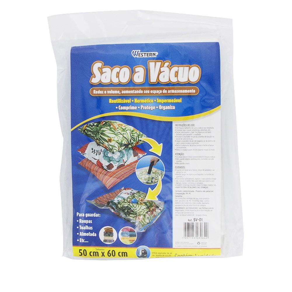 Saco A Vácuo para Guardar Roupas e Toalhas de Plástico Hermético 50X60Cm