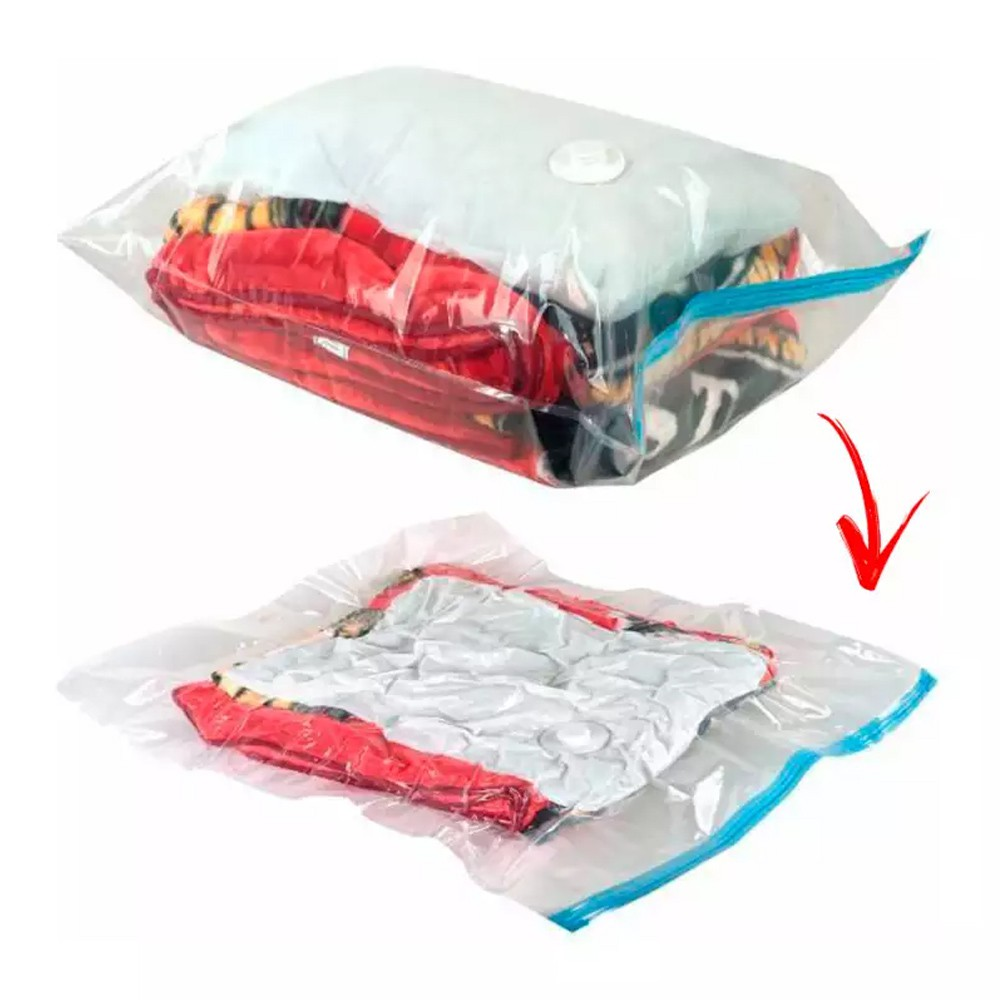 Saco A Vácuo para Guardar Roupas e Toalhas de Plástico Hermético 80 X 110Cm