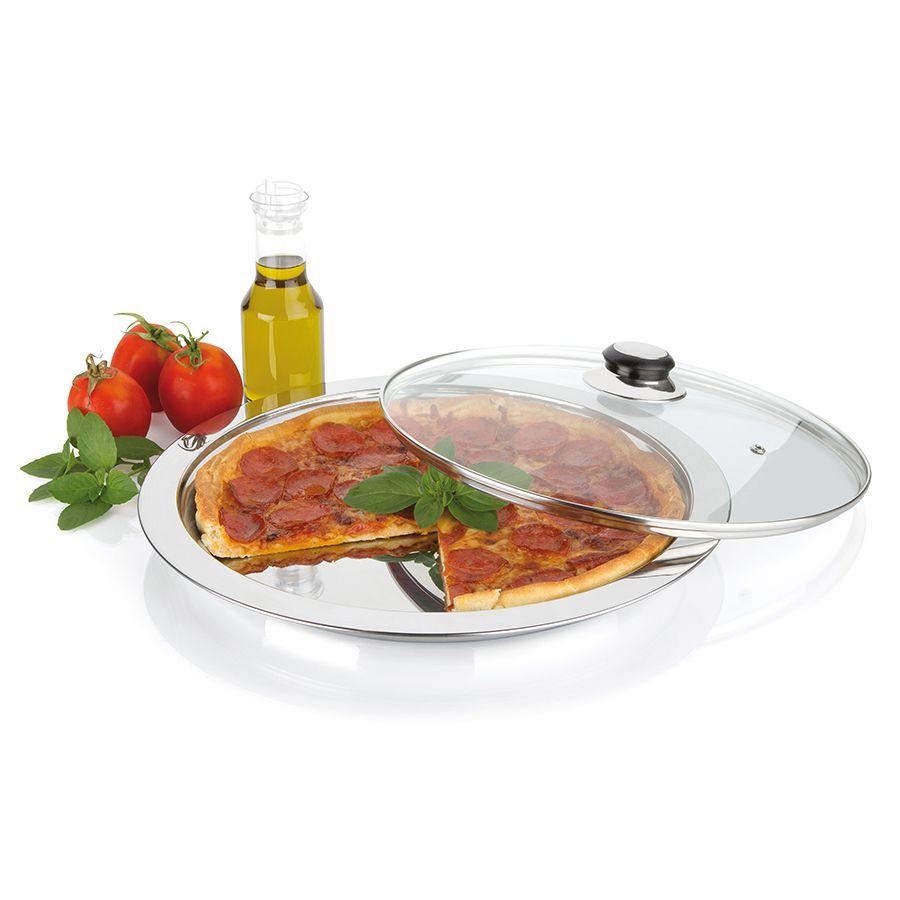 Conjunto para Pizza Prato de Aço Inox e Tampa de Vidro para Servir Diâmetro 32Cm - 2 Pçs