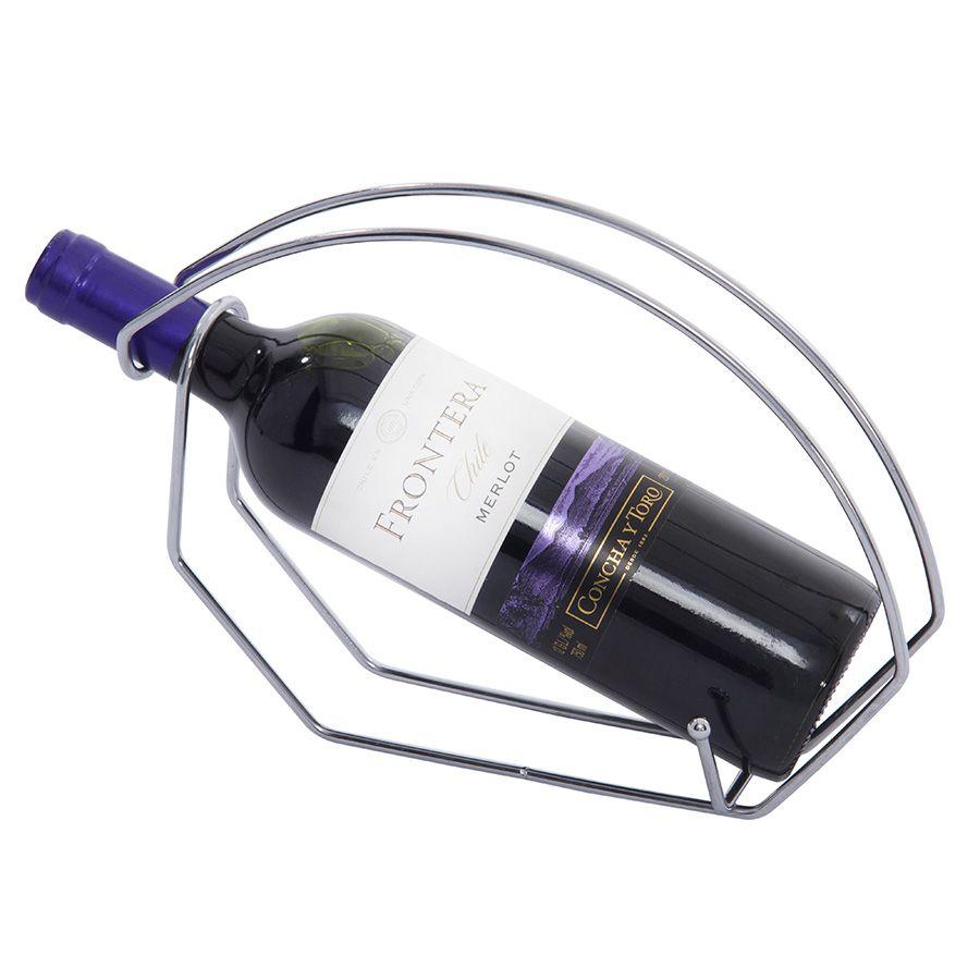 Suporte para Garrafa de Vinho de Aço Inox para Mesa Arame Duplo com Trava