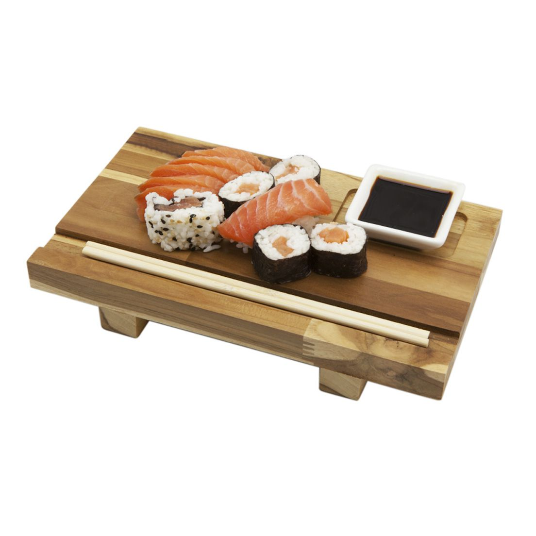 Tábua para Comida Japonesa de Madeira Teca com Apoio para Hachi e Shoyu