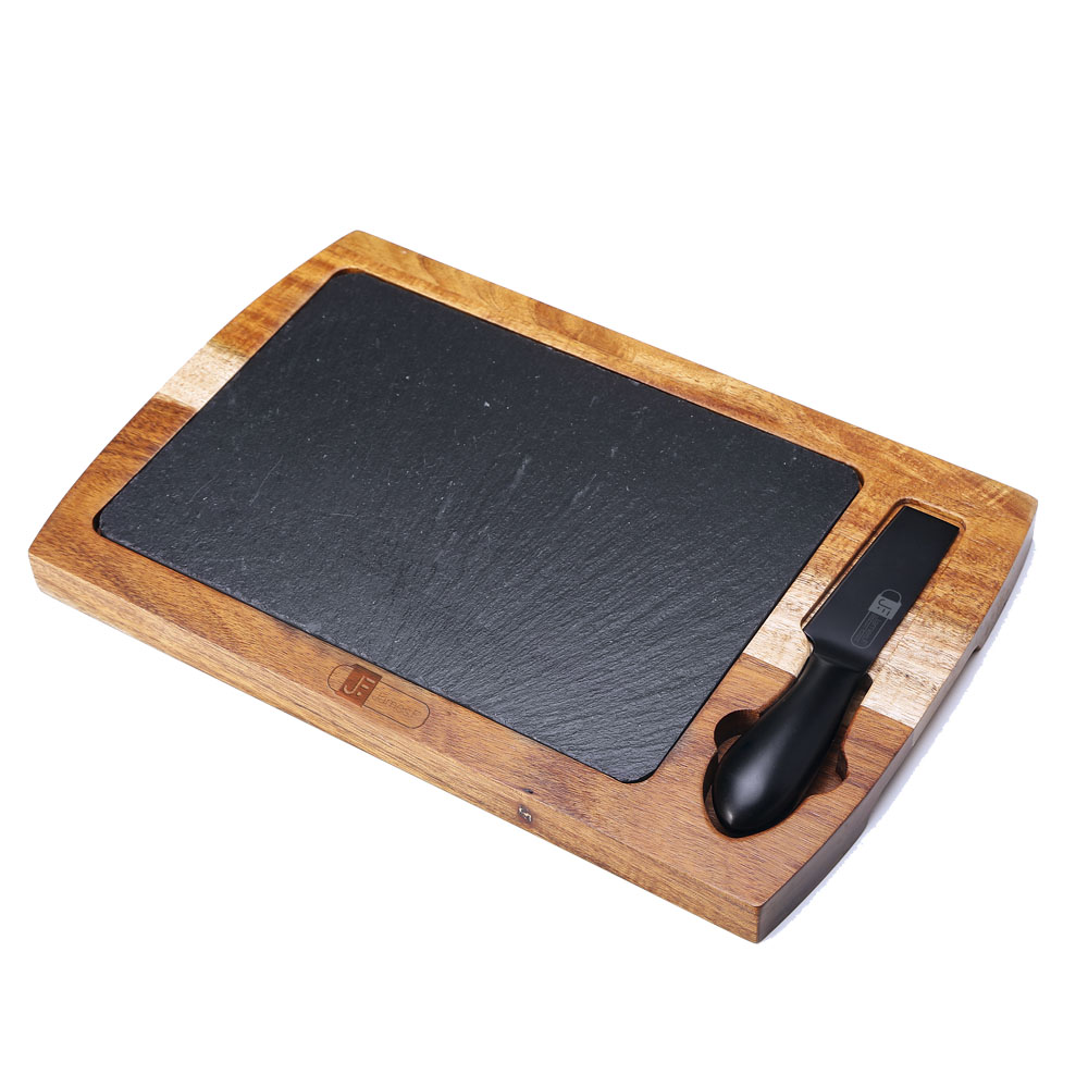 Tábua para Corte de Madeira de Acácia com Pedra Ardósia e Faca para Queijo de Aço Inox