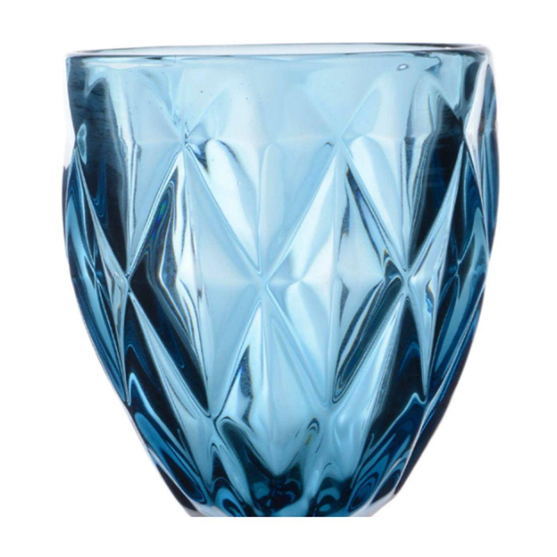 Jogo de Taças Class Home Diamante 210ml para Vinho de Vidro Azul 6 Peças