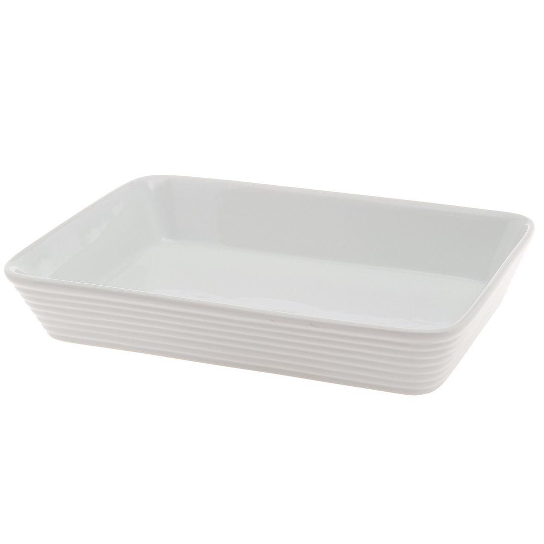 Assadeira Casa Ambiente 35cm de Cerâmica para Micro-Ondas, Forno Convencional e Elétrico Retangular Branco