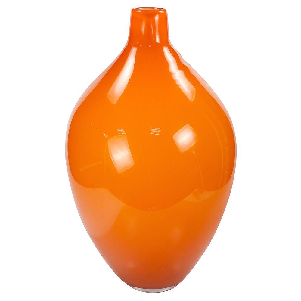Vaso de Vidro Laranja 35Cm