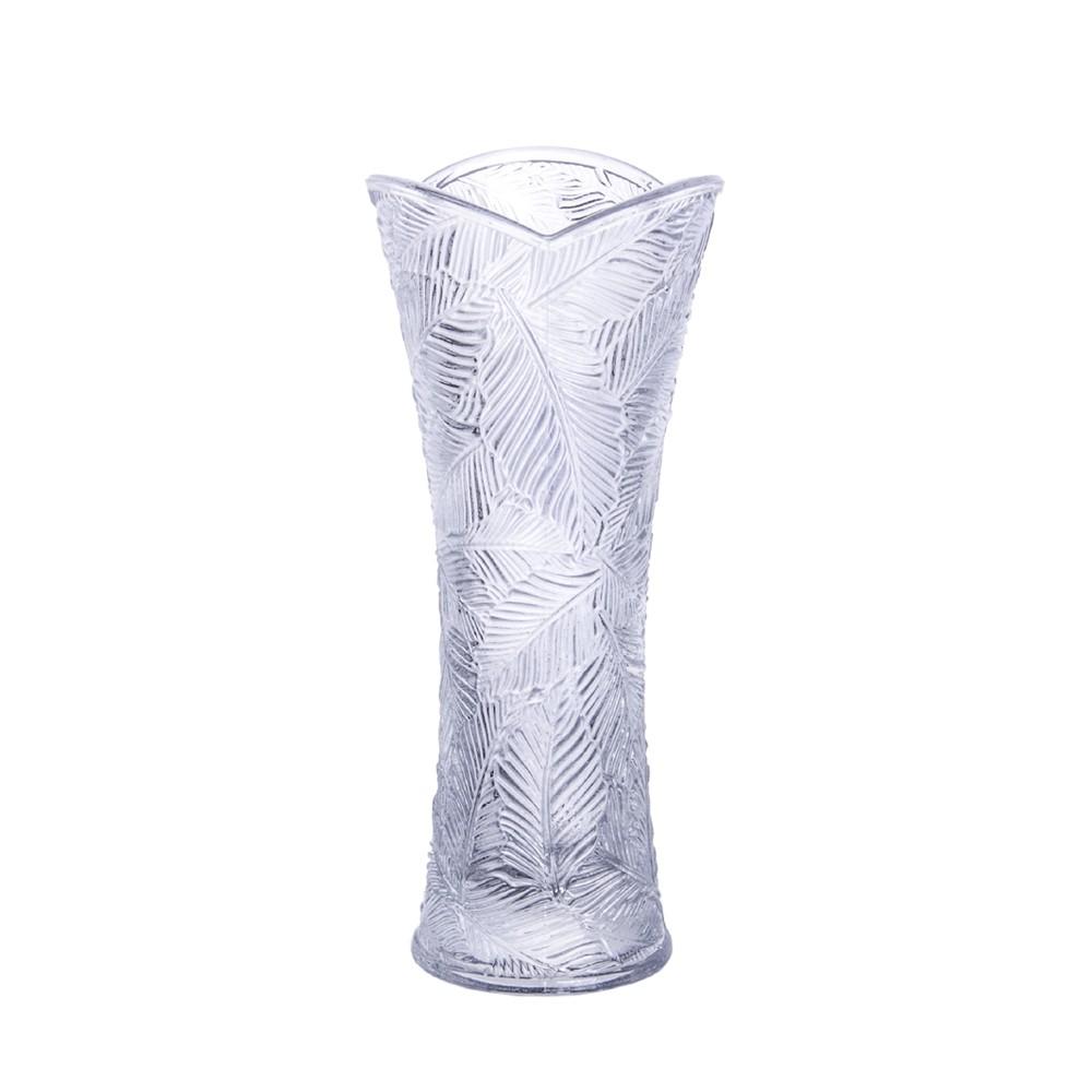 Vaso Floreiro de Cristal Ecológico Solitário Folhagem 8Cm