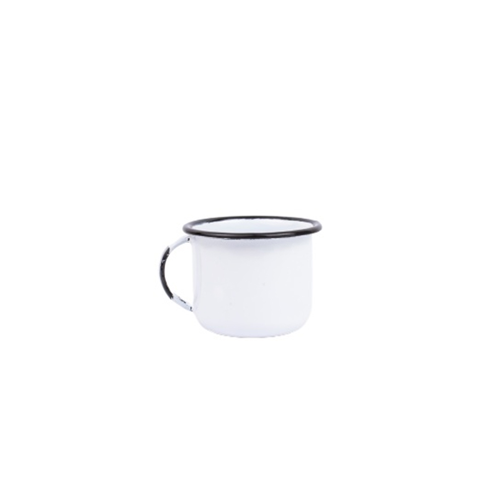 Xícara 90Ml para Café de Aço Carbono Esmaltada Branca