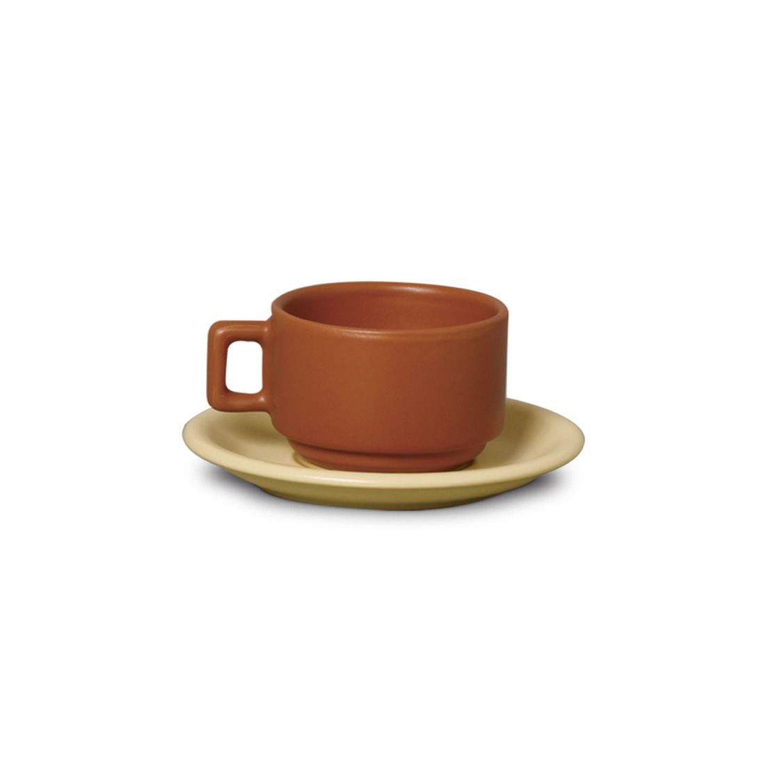 Xícara de Café de Cerâmica com Pires Marrom 100Ml