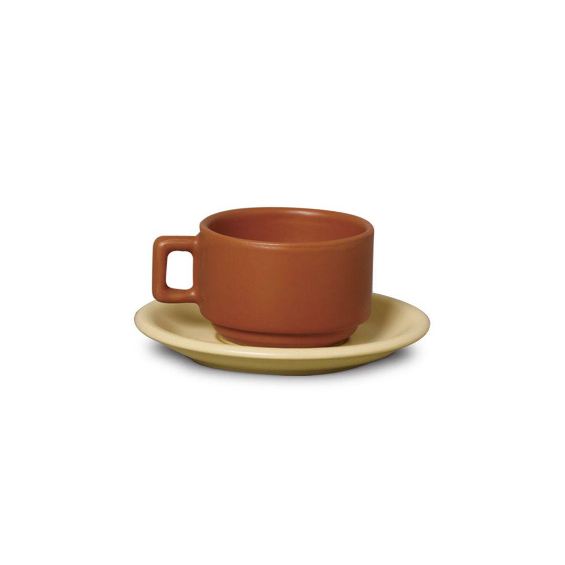 Xícara 100Ml para Chá de Cerâmica com Pires Marrom