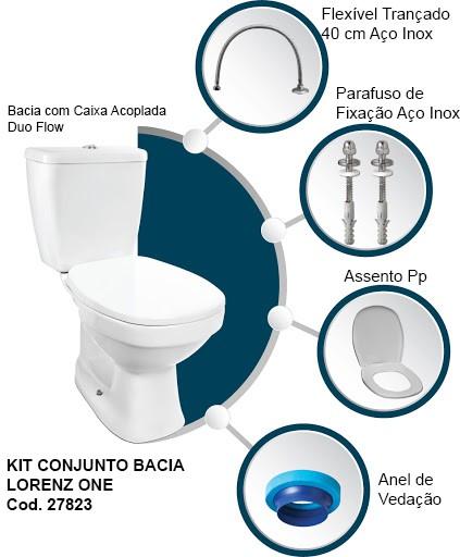 52 KIT CONJ. BACIA LORENZ ONE + CAIXA +FIXAÇAO  BRANCA