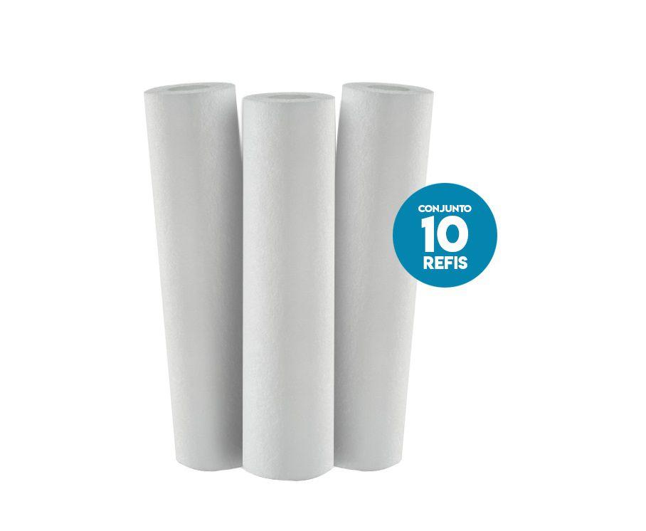 Kit 10 Refil Polipropileno P/ Filtro Caixa Dagua Poe BBI 9 3/4