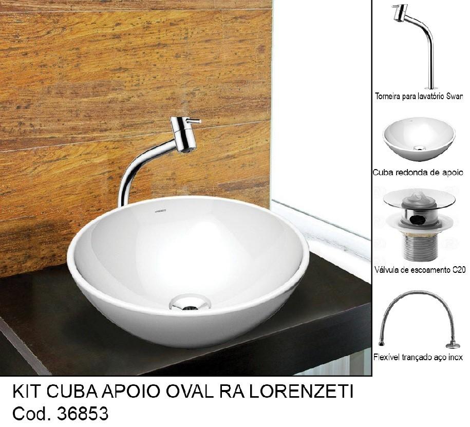 KIT CUBA APOIO OVAL +TORN.+FLEX.+ VA LV. +SIFÃO  (5 PC) ZZ