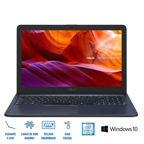 NOTEBOOK ASUS I3 1TB WINDOWS 10 CINZA