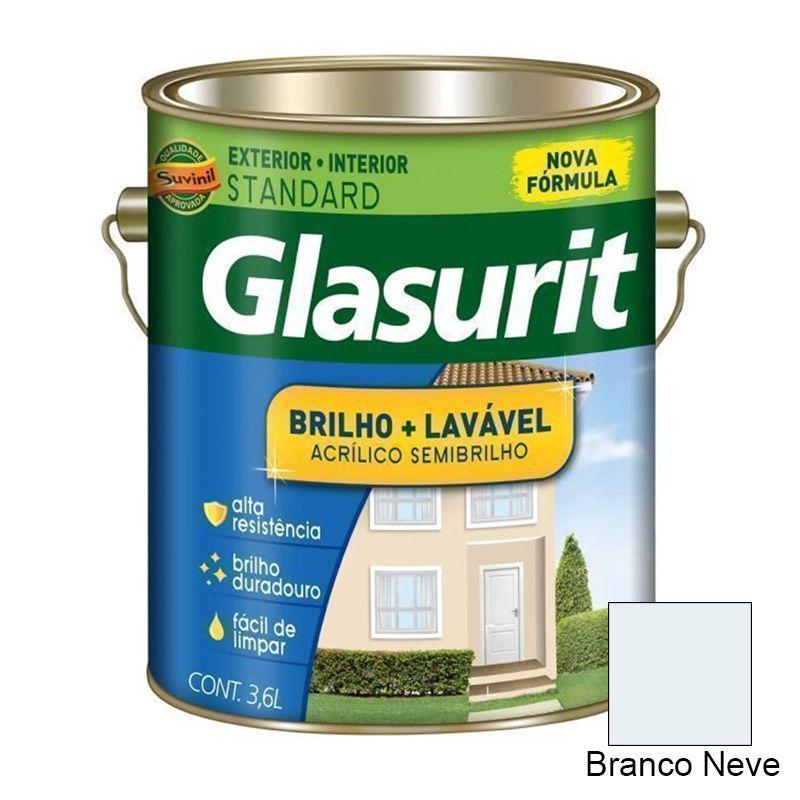 TINTA GLASURIT ACRÍLICO BRILHO MAIS LAVÁVEL BRANCO NEVE 3,6 L