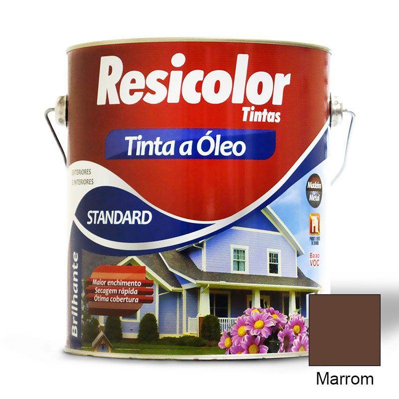 TINTA RESICOLOR ÓLEO BRILHANTE MARROM 900ML