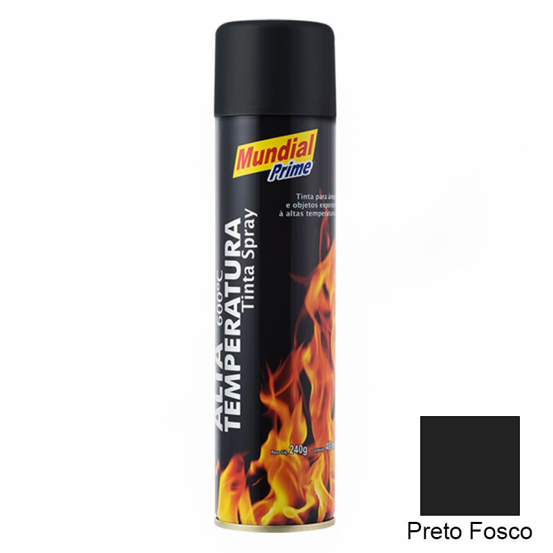 TINTA SPRAY 400ML ALTA TEMPERATURA PRETO FOSCO
