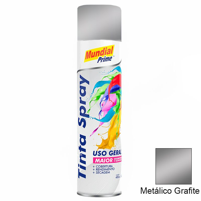 TINTA SPRAY 400ML METALICO GRAFITE MUNDIAL PRIME