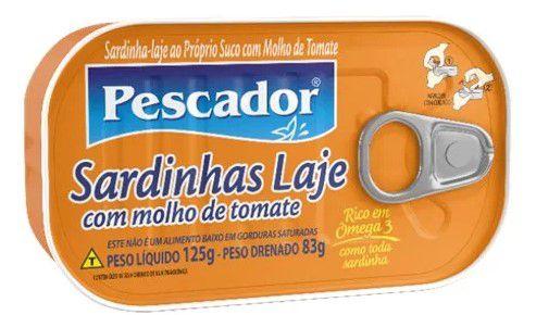 SARD. LAJE PESCADOR OLEO PROPRIO SUCO MOLHO DE TOMATE 125G