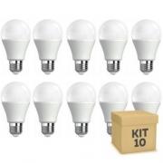Kit 10 lâmpadas bulbo led E27 9w 6500k bivolt INMETRO