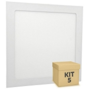 Kit 5 plafon led embutir 18w 6500k INMETRO