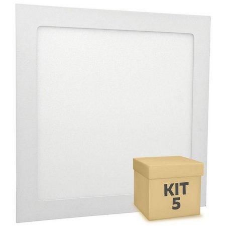 Kit 5 plafon led embutir 24w 6500k INMETRO