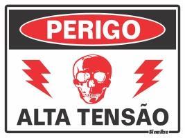 PLACA PERIGO ALTA TENSAO 15 X 20 SINALIZE