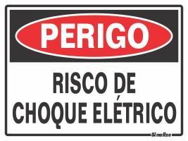 PLACA PERIGO RISCO DE CHOQUE ELETR 15 X 20CM SINA