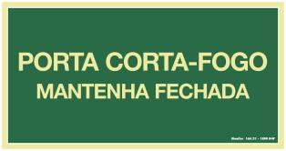 PLACA PORTA CORTA FOGO FOTOLUM 30X15 SINALIZE