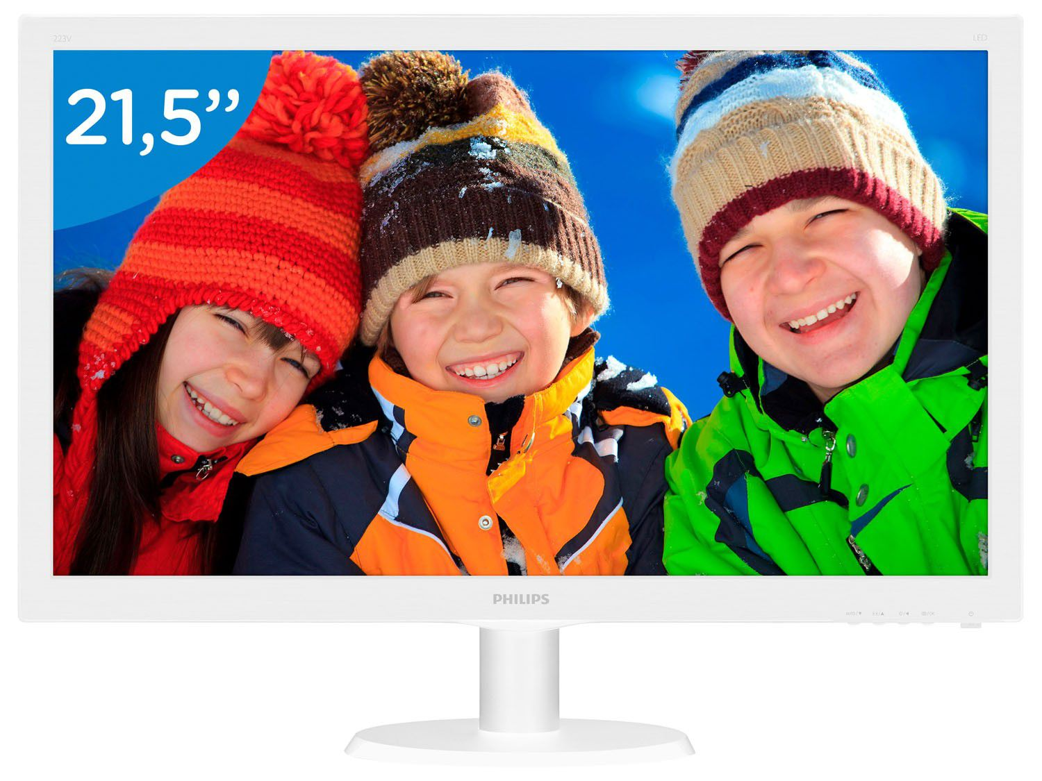 "Monitor 21,5"" Led Philips Branco-Hdmi-Vga-Full HD-Vesa - 223v5lhsw 110/220V bivolt"