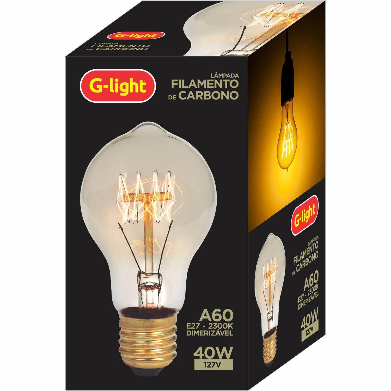 Lâmpada Filamento de Carbono A60 2300K 40W E27 220V  - Loja Jurerê