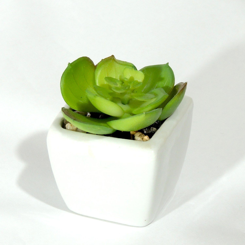 Mini Suculenta Artificial Vaso Porcelana  - Loja Jurerê