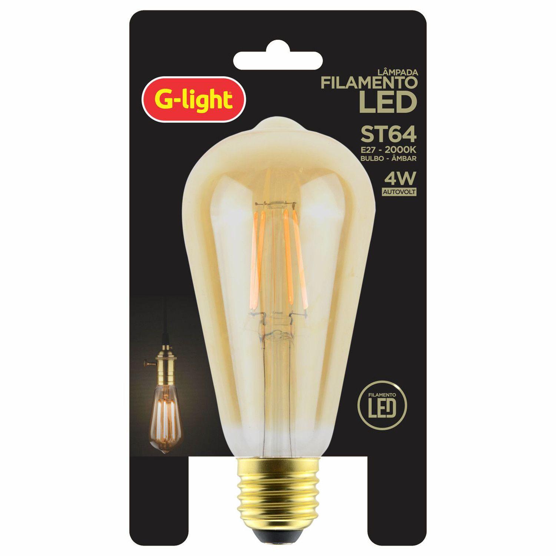 Lâmpada Filamento LED Bulbo Âmbar 4W 2000K E27 Autovolt  - Loja Jurerê